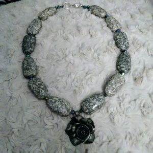NWOT Beaded Stone Necklace with Rose Charm